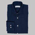 Simon Skottowe - Irish linen spread collar dress shirt navy