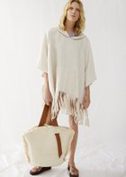 PATTI poncho with fringes white sand