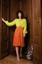 LEAR dress - neon yellow w. orange cupro