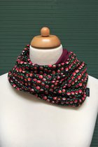 Women Loop Scarf SD4108TP - tulip patterned/burgundy