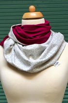 Women Loop Scarf SD4108GP - grey patterned/burgundy