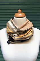 Women Loop Scarf SD41037BYS - beige-yellow-brown-white striped/light beige