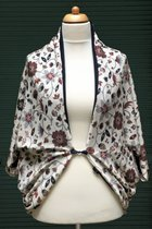 Cardigan SD10048RGFK - Rusty brown-grey flowered knitted/midnight blue