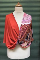 Shawl SD3006LOP - lilac-orange patterned/orange