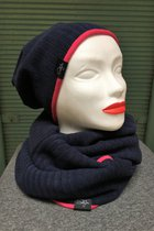 Women Beanies & Scarves SD6001DBK - Dark blue knitted/pink