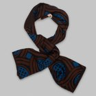 Fumagalli 1891 - Milano wool/silk scarf navy brown scroll