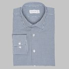 Simon Skottowe - Gingham patterned brushed cotton shirt denim/white