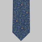 Drake's - Birds of Paradise Print Silk Tie blue