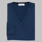 Gran Sasso - Slim fit Merino wool V-neck sweater bright blue