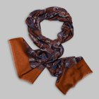 Petronius 1926 -Paisley motif wool silk scarf orange/blue
