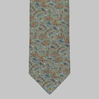Drake's - Birds of Paradise Print Silk Tie green