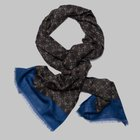 Petronius 1926 - Geometric window motif wool silk scarf blue/green/brown