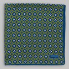 Petronius 1926 - Small flower motif pocket square green/blue/white