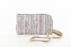 CLUTCH WITH STRAP White leather  with stripes