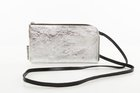 CLUTCH WITH STRAP Silver leather